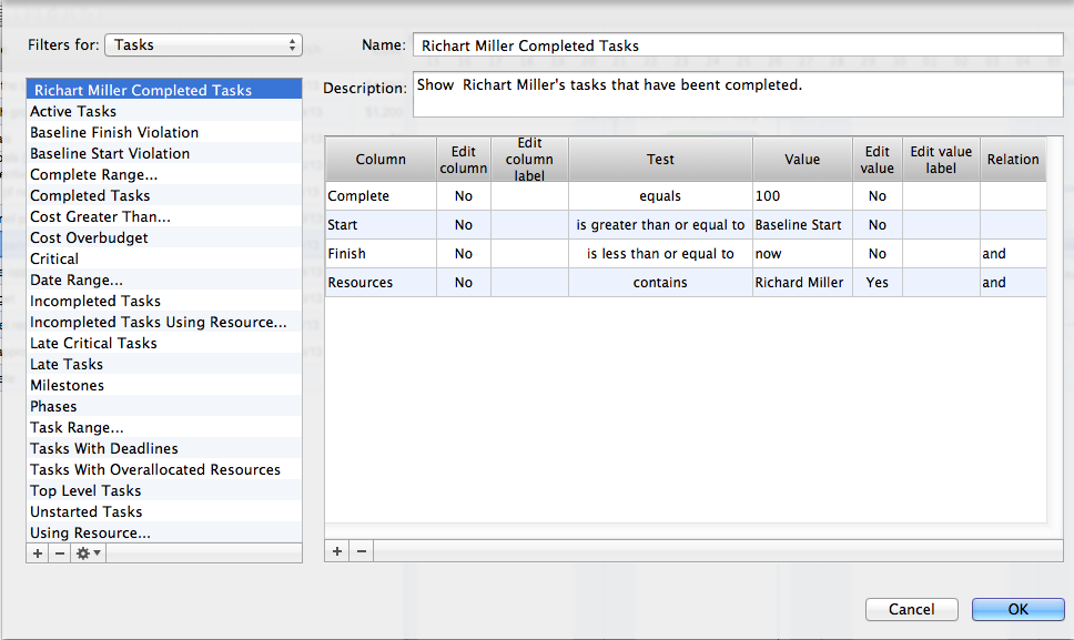 Create custom filters in ConceptDraw PROJECT on Mac