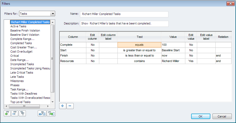 Create custom filters in ConceptDraw PROJECT